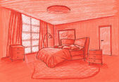 Graphical sketch, bedroom, grisaille on a color paper — Stock fotografie