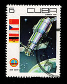 CUBA - CIRCA 1979: A stamp printed in the CUBA, shows Nave Saliut, circa 1979 — Stock Photo