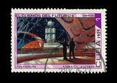 古巴-1975 年左右: 在古巴,打印戳记表明,a.sokolov a.lednov el 宇宙 del futuroll,1975 年左右 — 图库照片