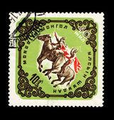 MONGOLIA - CIRCA 1965: A stamp printed in the MONGOLIA, shows Horsemen on horses, circa 1965 — Stock Photo