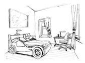 Bir iç çocuk yatak odası, liner grafik çizimi — Stok fotoğraf