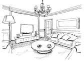 Grafický nástin interiéru obývacího pokoje, liniové — Stock fotografie