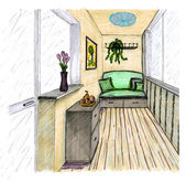 Graphical sketch of an interior balcony — Stock Photo