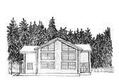 Graphical sketch. Apartment house in fur-tree wood — Stock Photo