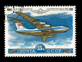 USSR - CIRCA 1979: A stamp printed in the USSR, shows airplane IL-76, circa 1979 — Foto de Stock