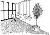 Grafický náčrtek interiérové dětské ložnice, podšívka — Stock fotografie