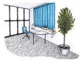 Dibujo gráfico de un dormitorio de niño interior — Foto de Stock