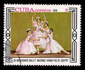 CUBA - CIRCA 1978: A stamp printed in the CUBA, shows corrreos 1978, 30 aniversario ballet nacional grand pas de quatre, circa 1978 — Stock Photo