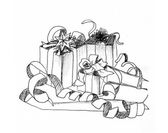 Grafisk skiss gåvor — Stockfoto