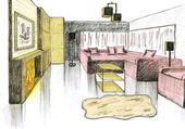 Dibujo gráfico de un salón interior — Foto de Stock