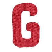 Letter G alphabet, knitted spokes structure — Stock Photo