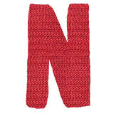 Letter N alphabet, knitted spokes structure — Stock Photo
