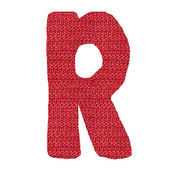 Letter R alphabet, knitted spokes structure — Stock Photo