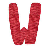 Letter W alphabet, knitted spokes structure — Stock Photo