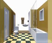Modern bathroom yellow interior. — Stock Photo