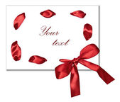 White card, is decorated with a scarlet tape and a bow — Stock Photo