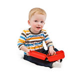 One-year-old child, building tools — Stock Photo
