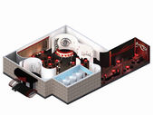 Muebles estáen en plan de arquitecto del restaurante — Foto de Stock
