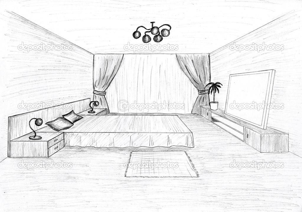 Desenho Em Quarto ~ Desenho gráfico de um quarto interior u2014 Fotografias de Stock u00a9 irogova #28020123