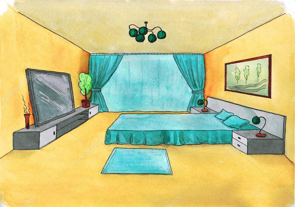Dibujo gr fico de una habitaci n interior color del agua - Dibujos para habitaciones de bebe ...