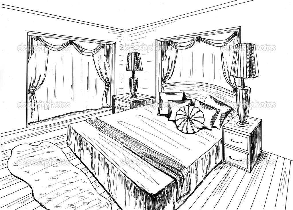 Desenho gr fico de um quarto interior fotografias de for Dormitorio para dibujar facil