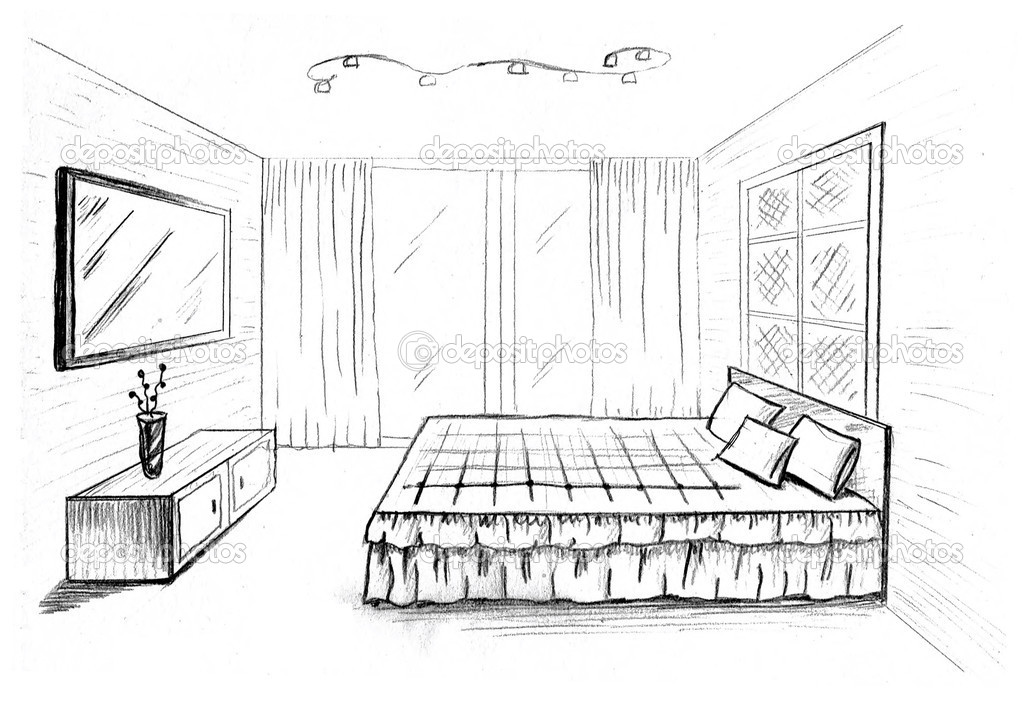 Dibujo gr fico de una habitaci n interior foto de stock - Como iluminar una habitacion ...