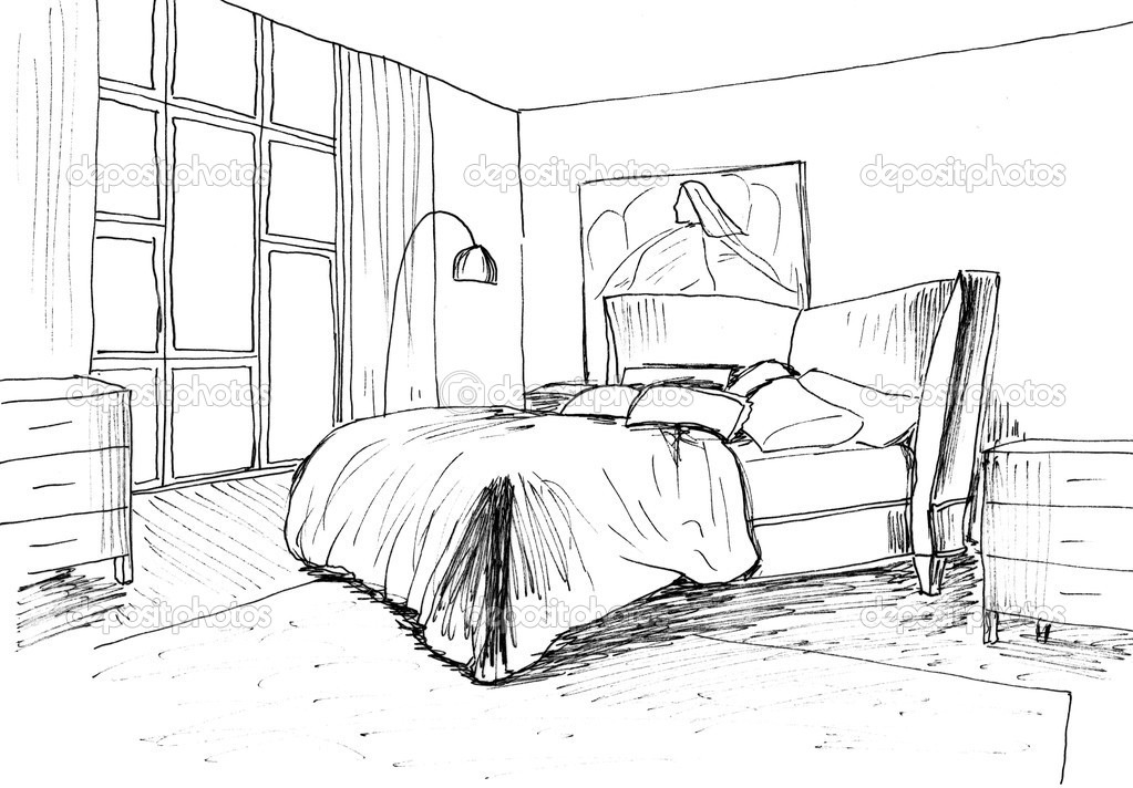 Graphical Sketch Of An Interior Bedroom Liner Stock