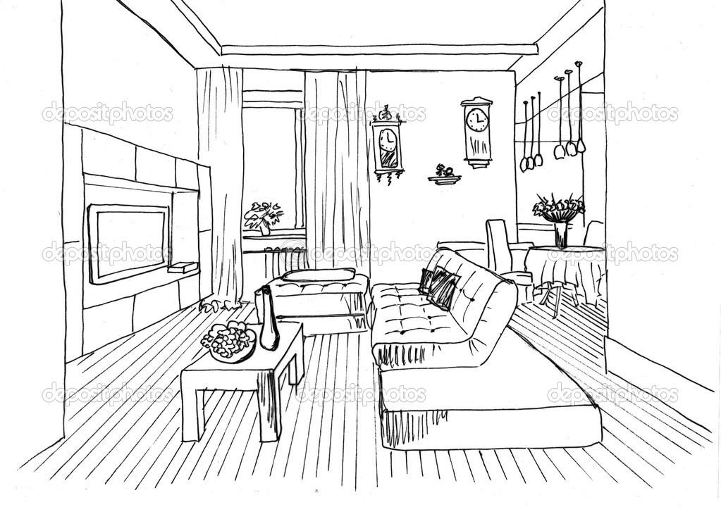 Dibujo gr fico sala de estar foto de stock irogova for Comedor para dibujar