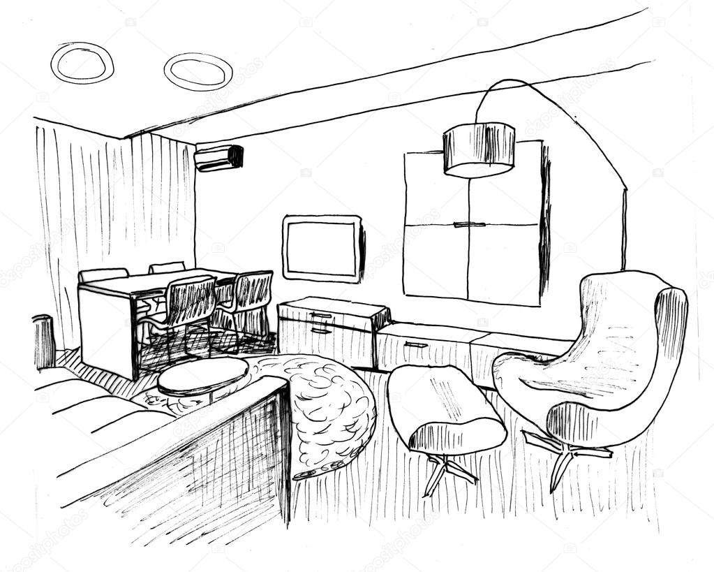 Graphical sketch of an interior living room liner stock for Living room interior design sketch