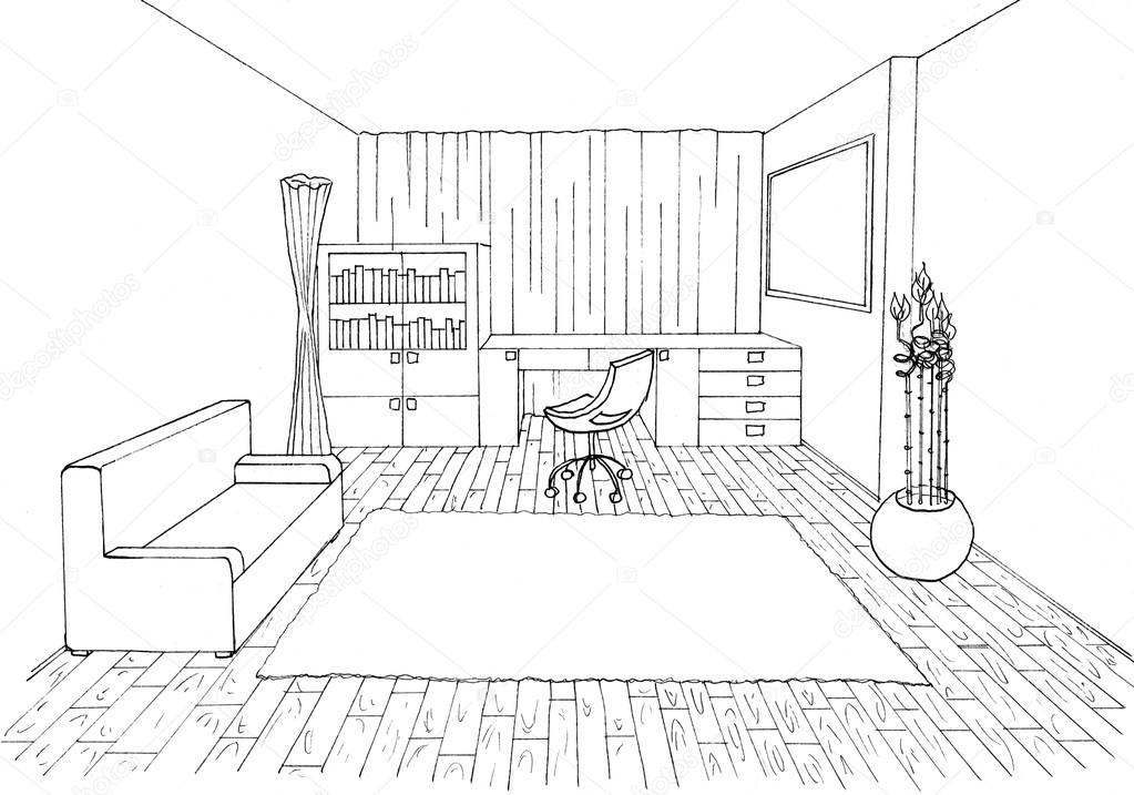 1 Point Perspective Room With Furnitures How To Draw One