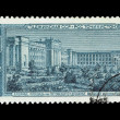 Postcard printed in the USSR shows Tajik Soviet Socialist Republic, Dushanbe, Putovskogo Square — Stock Photo