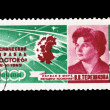 Postcard printed in the USSR shows First-ever woman astronaut Tereshkov — Stock Photo #28852737