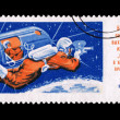 Stock Photo: Postcard printed in USSR shows Rising-2 spaceship crew