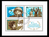 Postcard printed in the USSR shows 10 anniversary of flight of the first-ever woman of astronaut Tereshkova — Stock Photo