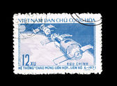 Postcard printed in the VIETNAM shows astronauts — Stock Photo