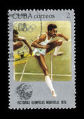 Postcard printed in the CUBA shows Olympic Games — Foto de Stock