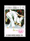 Postcard printed in the CUBA shows Olympic Games. — Stock Photo