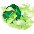 Green fabric ribbon — Stock Photo