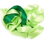 Green fabric ribbon — Stock Photo