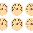 Set from six wooden thermometers for a sauna — Stock Photo