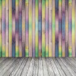 Multi-colored wall from wood and a gray wood floor — Stok fotoğraf