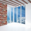 White room with one gray brick wall — Stock Photo