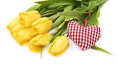 Yellow tulip and the heart — Stockfoto