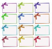 Ställa in färg och vit prickiga kort, band och rosett — Stockfoto
