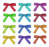 Set color and white polka dot ribbon and bow — Stock Photo