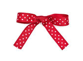 Red and white polka dot ribbon and bow — Stock Photo
