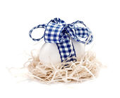 White egg in a nest with blue ribbon and bow — Stock Photo