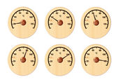 Set from six wooden thermometers for a sauna — Стоковое фото
