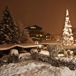 Fir-tree in a snow-covered yard of the Austrian house — Stock Photo