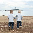Stock Photo: Twins go by hand on beach